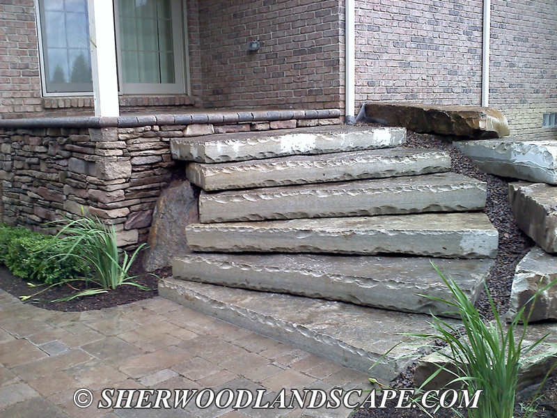 Natural Stone Steps : Natural stone steps finished macomb county landscaping