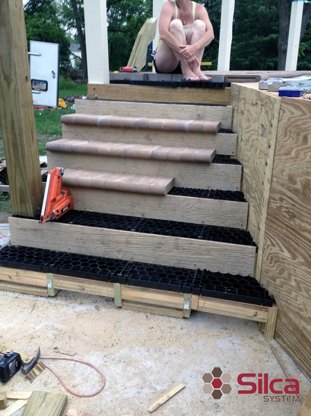 Above Ground Stone Deck - Install